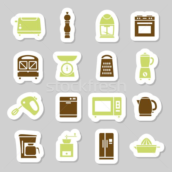 Utensílios de cozinha ferramentas adesivos projeto cozinha máquina Foto stock © glorcza