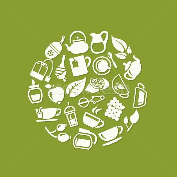 tea icons in circle Stock photo © glorcza