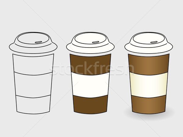 Kahve Fincanı Boyama Fincan çizim Grafik Modern Vektör