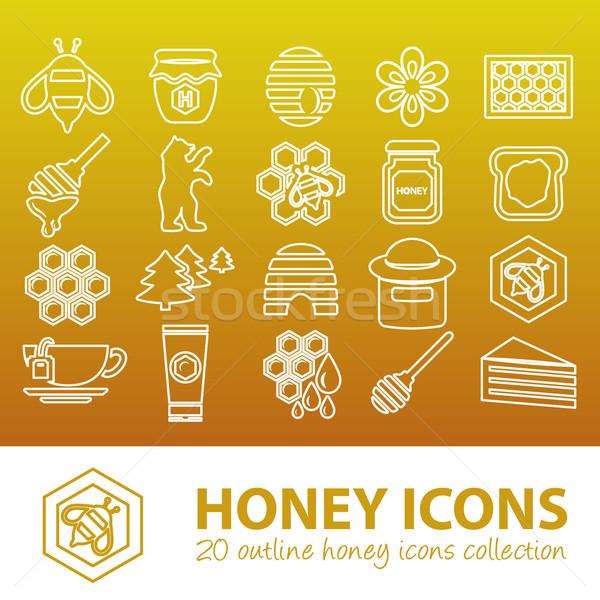 Honing schets iconen voedsel bos ontwerp Stockfoto © glorcza