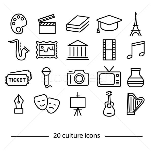 Cultura line icone venti musica televisione Foto d'archivio © glorcza