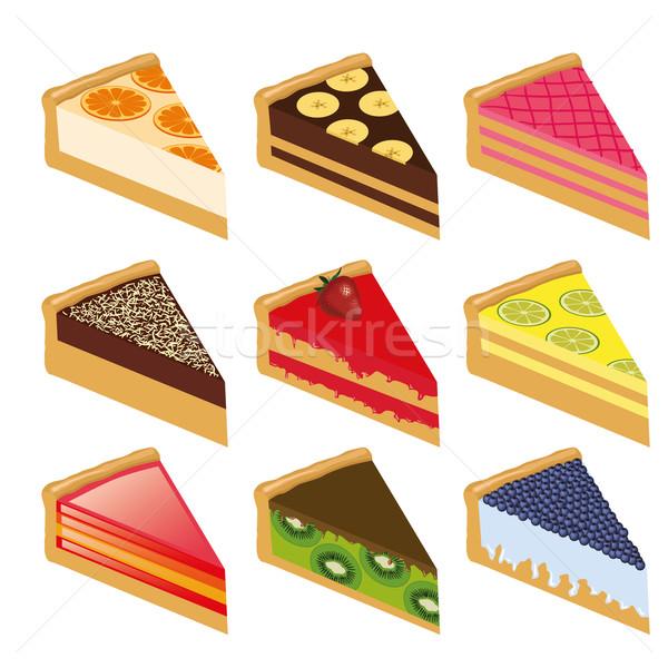 Kilenc torták gyűjtemény édes terv csokoládé Stock fotó © glorcza