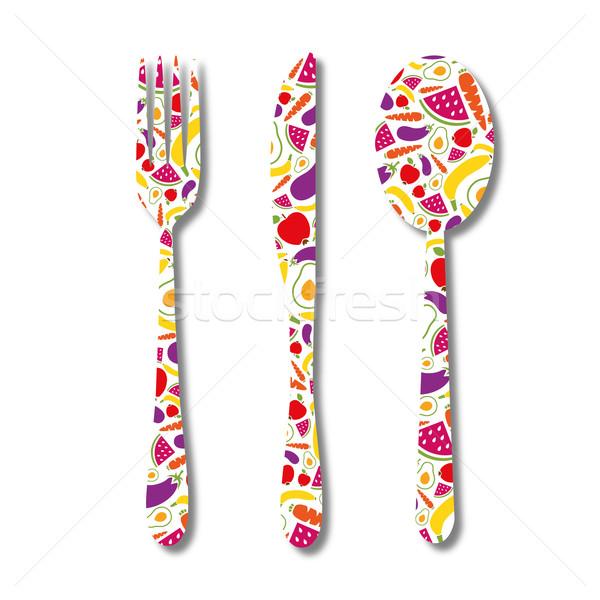 çatal bıçak takımı model dizayn restoran akşam yemeği bıçak Stok fotoğraf © glorcza