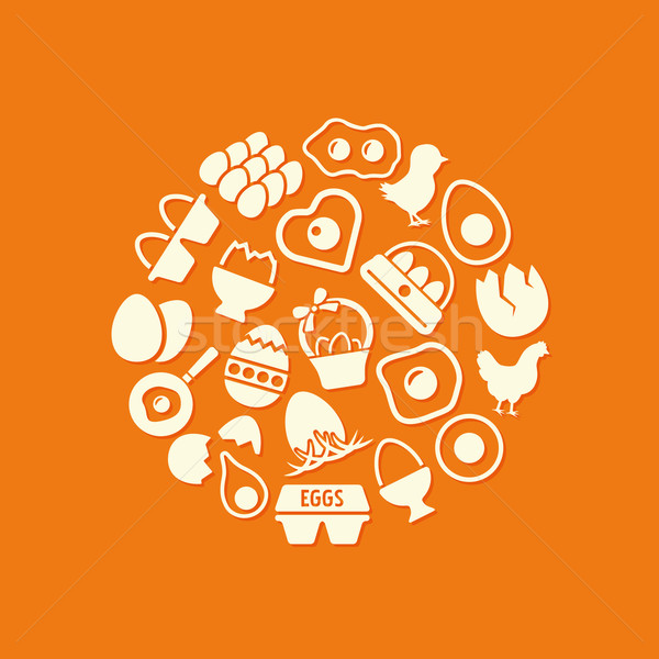 egg icons in circle Stock photo © glorcza