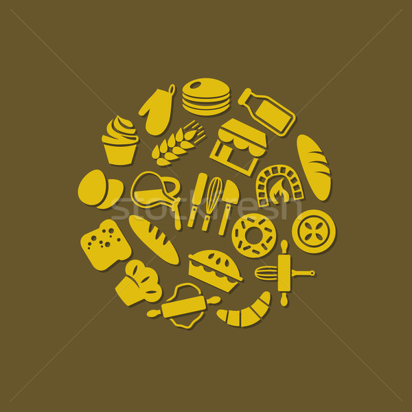bakery icons in circle Stock photo © glorcza