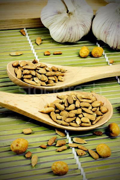 Girassol sementes colher natureza branco semente Foto stock © Gloszilla