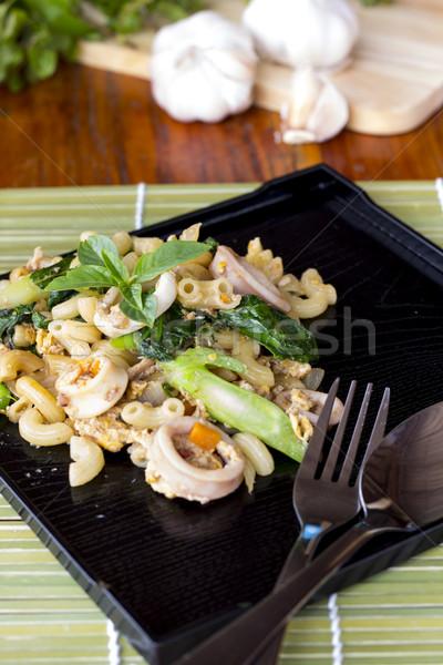 Stir fried macaroni with chikken Stock photo © Gloszilla