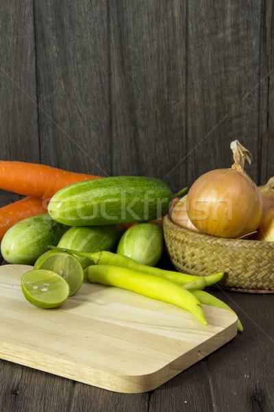 Conjunto legumes frescos folha verde fruto saúde Foto stock © Gloszilla