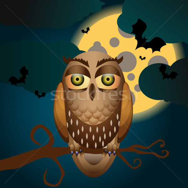 Cute halloween illustration pleine lune chouette vecteur Photo stock © glyph