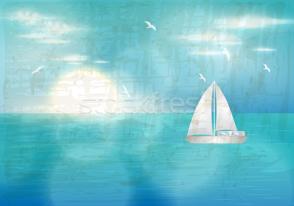 Retro blue ocean with sailing boat illustration Stock photo © glyph