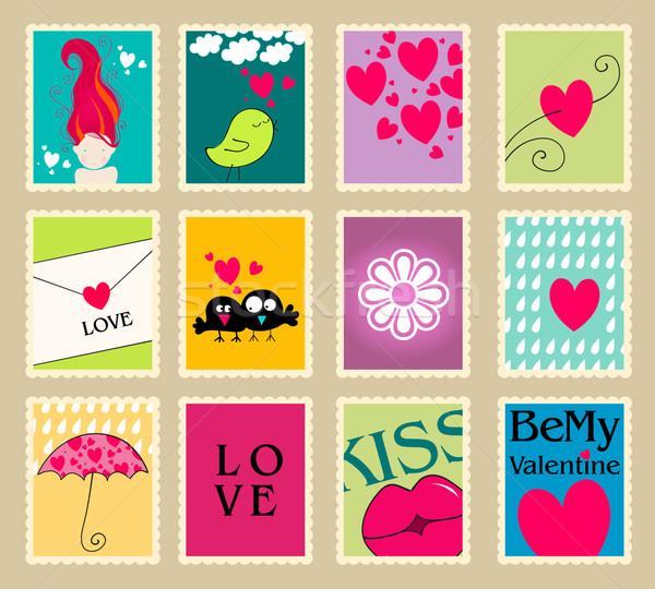 Stock fotó: Szett · aranyos · valentin · nap · posta · bélyegek · vektor