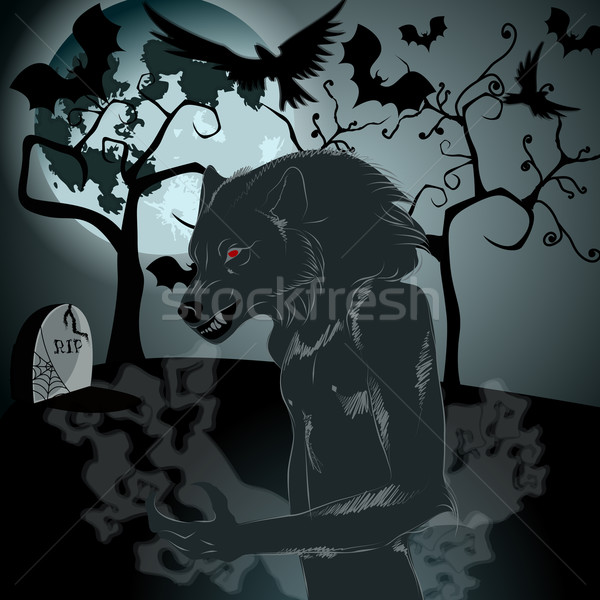 Halloween illustration with werewolf and full Moon Stock photo © glyph