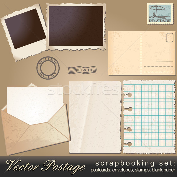 Scrapbooking set of vintage postage objects Stock photo © glyph