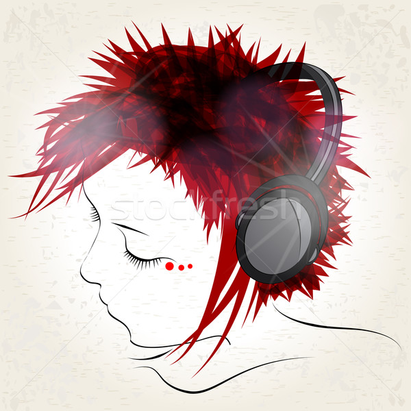 Girl listening to music Stock photo © glyph