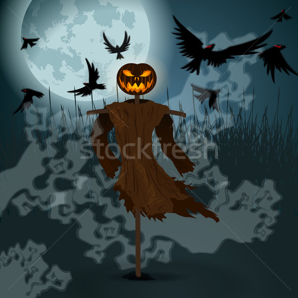 Halloween illustration with evil scarecrow, full Moon and crows Stock photo © glyph