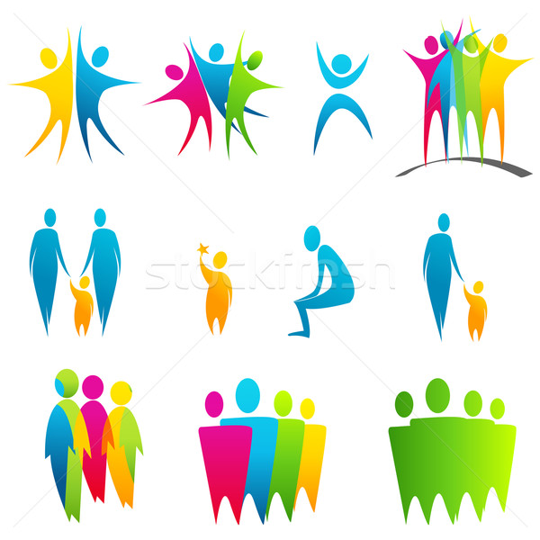 Set of colored abstract silhouettes Stock photo © glyph
