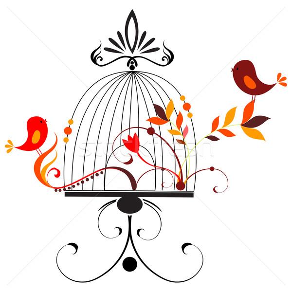 Aranyos madarak énekel vektor tavasz szív Stock fotó © glyph