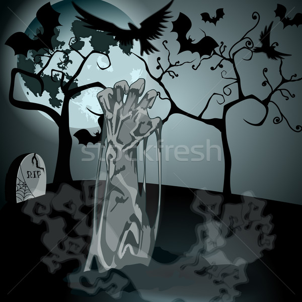 Illustration of undead zombie rising from the grave Stock photo © glyph