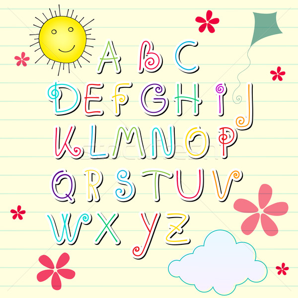 Cute summer sketchbook alphabet letters Stock photo © glyph
