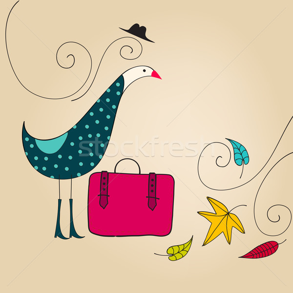 Cute najaar vogel illustratie vector Stockfoto © glyph