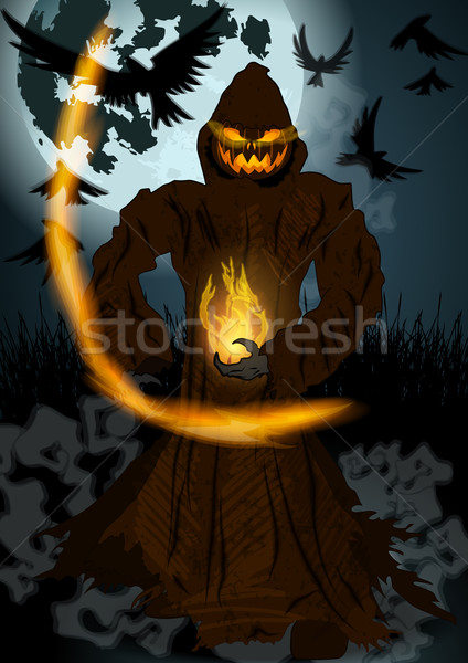 Хэллоуин иллюстрация вектора подробный темно рисованной Сток-фото © glyph