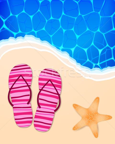 Summer illustration with ocean, beach, flip-flops and starfish Stock photo © glyph