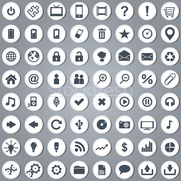 Grande establecer blanco elegante iconos de la web vector Foto stock © glyph