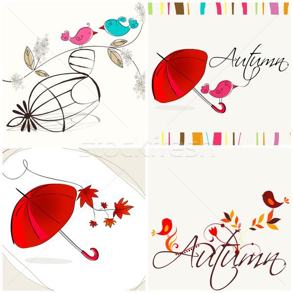 Сток-фото: набор · Cute · осень · вектора · рисованной
