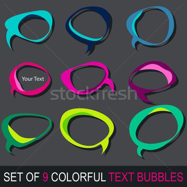 Сток-фото: набор · красочный · текста · пузырьки · вектора