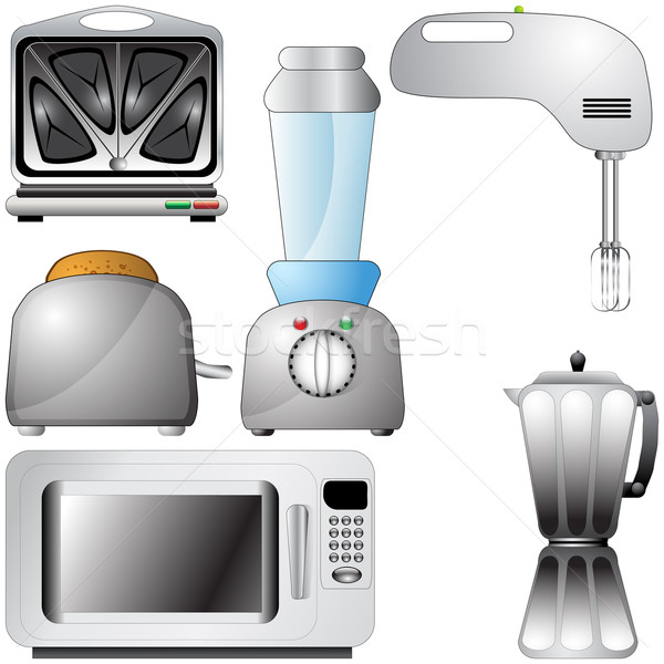 Set of realistic, detailed kitchen appliances Stock photo © glyph