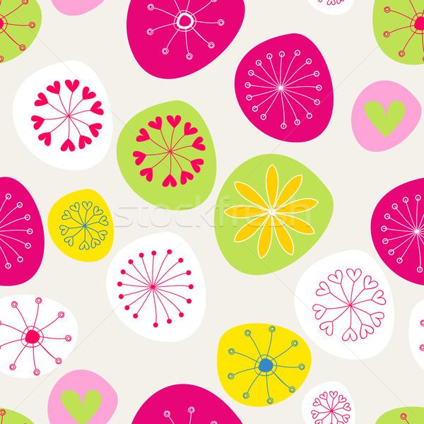 シームレス かわいい 春の花 ベクトル 手描き スタイル ストックフォト © glyph