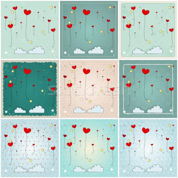 Cute heartshaped balloons illustrations Stock photo © glyph