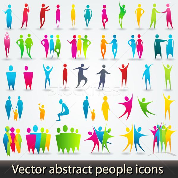 Szett színes absztrakt emberek sziluettek vektor Stock fotó © glyph