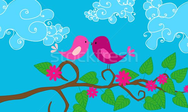 Aranyos madarak illusztráció ül ág égbolt Stock fotó © glyph