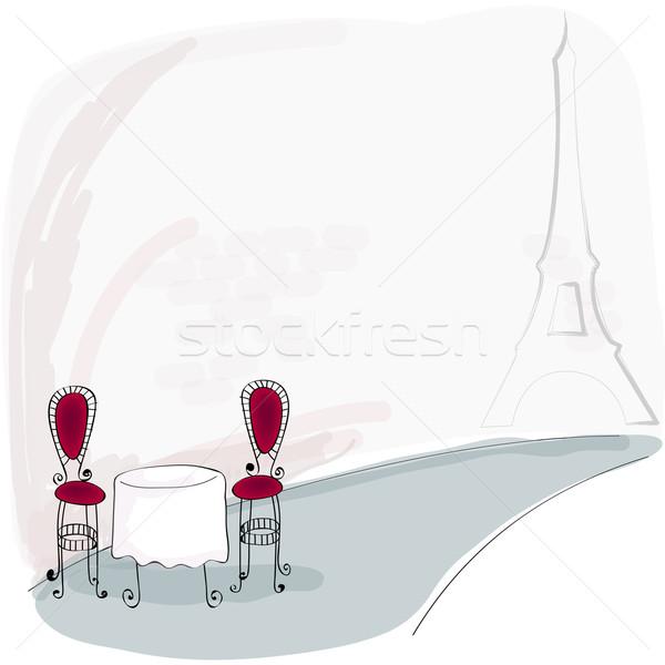 Paris kafe örnek vektör sevimli Stok fotoğraf © glyph