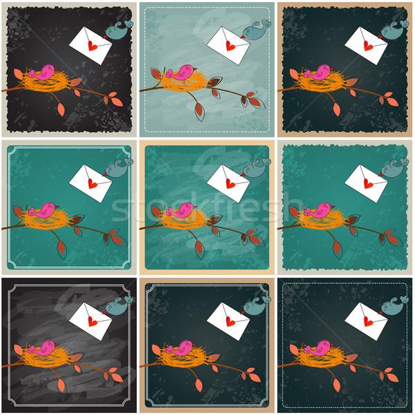 Cute birds in love illustrations Stock photo © glyph