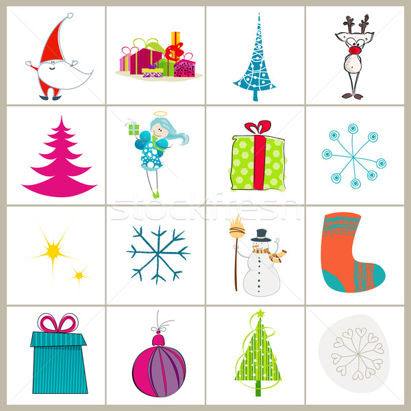 Set of cute Christmas illustrations Stock photo © glyph