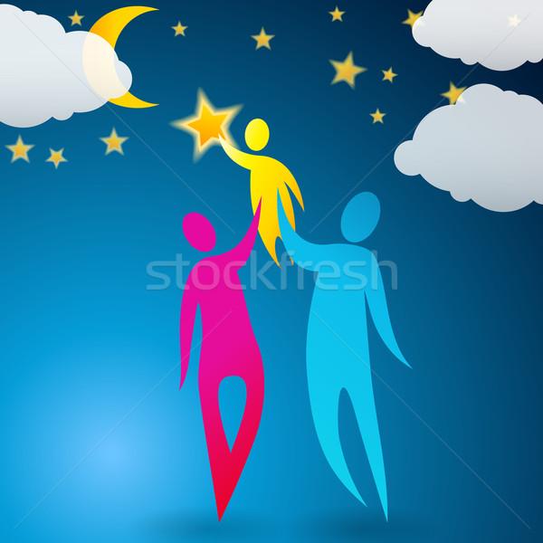 Paar helpen kind bereiken sterren vector Stockfoto © glyph