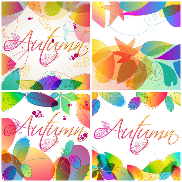 Szett színes őszi levelek illusztráció vektor kézzel rajzolt Stock fotó © glyph