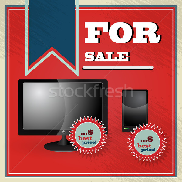 Elegant vintage best price offer for lcd tv with smartphone Stock photo © glyph