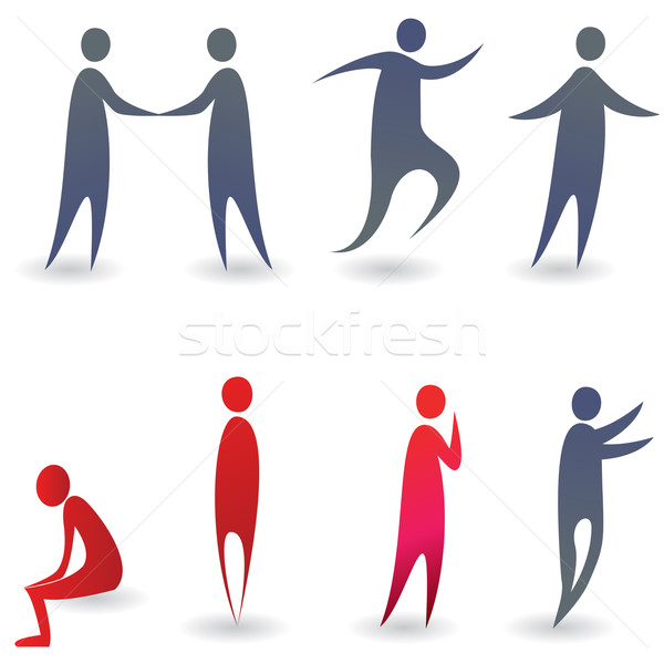 Set Of Colorful Abstract People Silhouettes Vector