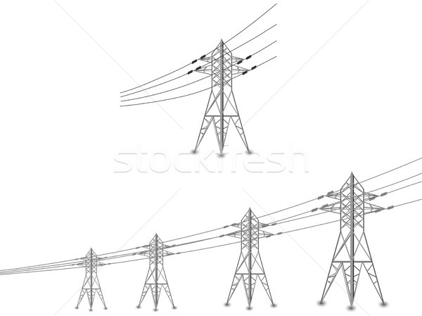 Set of power lines and electric pylons Stock photo © glyph