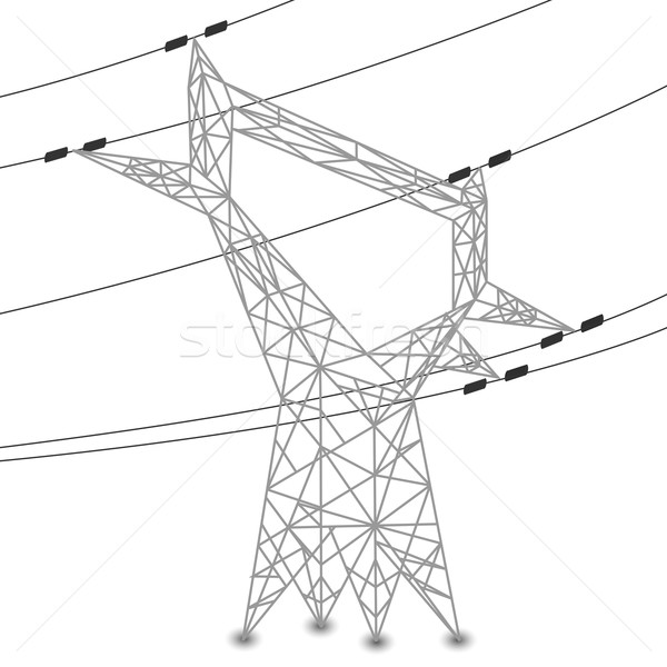Silhouette Of Power Lines And Electric Pylon Vector Illustration