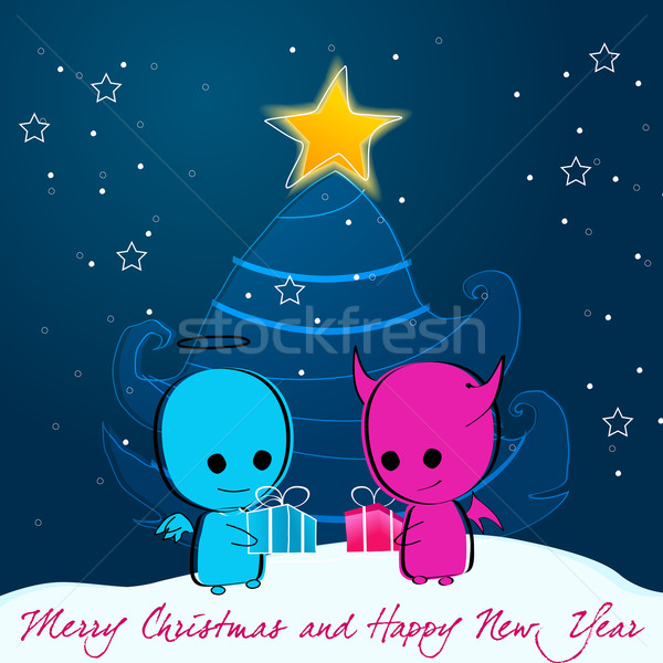 Mooie Christmas Engel Duivel Vector Ander Vector