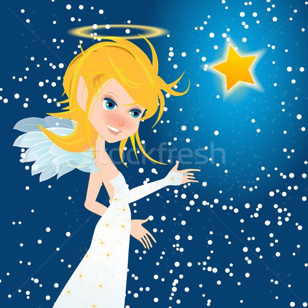 Mooie christmas engel star vector meisje Stockfoto © glyph