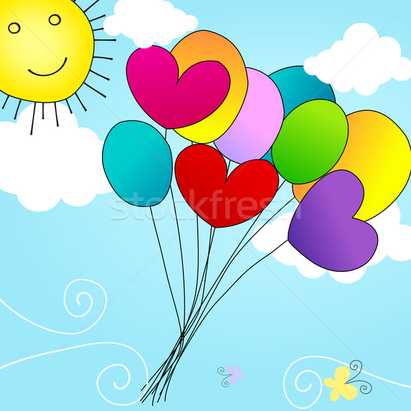 Cute balloons flying in the sky Stock photo © glyph