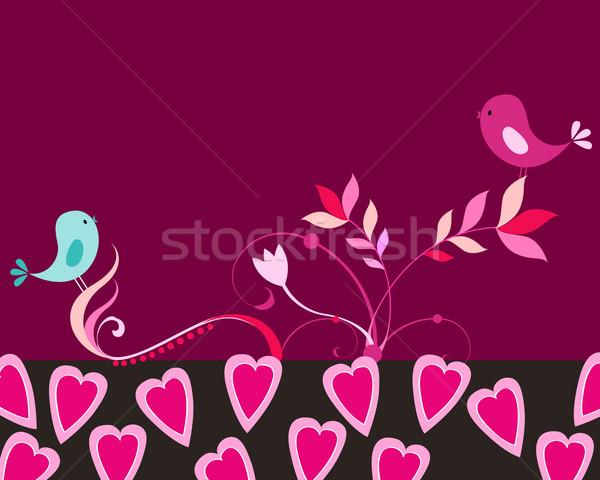 Illustration of cute birds in love Stock photo © glyph