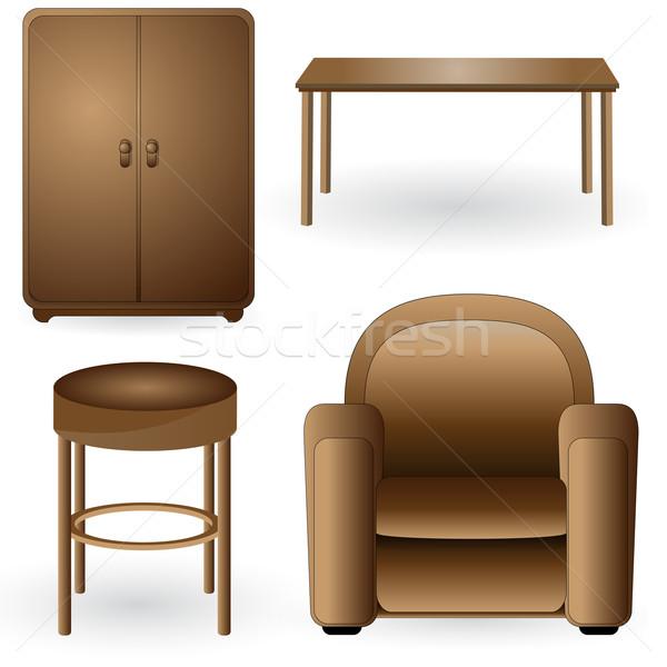 Moderna elegante muebles vector casa madera for Casa moderna vector