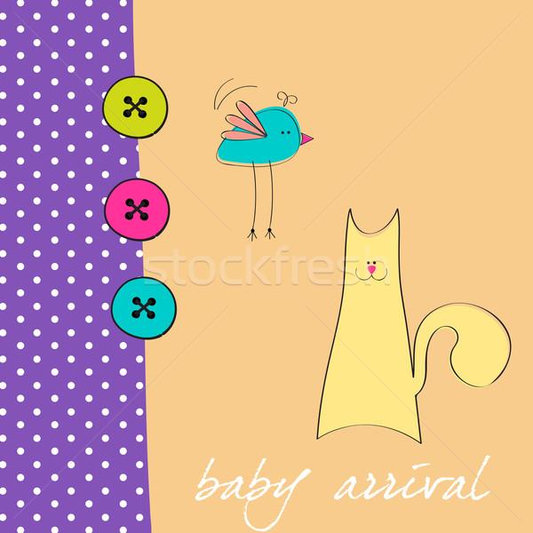 Cute stijl baby aankomst aankondiging Stockfoto © glyph