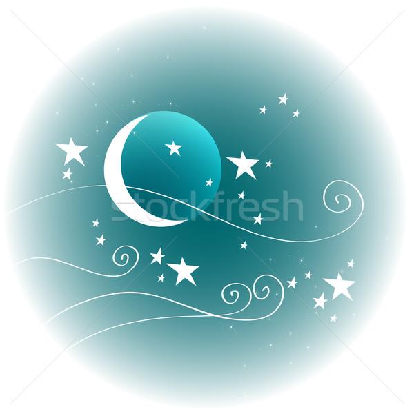 Cute invierno noche vector dibujado a mano estilo Foto stock © glyph
